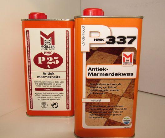 Een combipakket, bestaande uit: Een flacon P25a antiek marmerbeits en een flacon P337 antiek marmerdekwas naast elkaar.