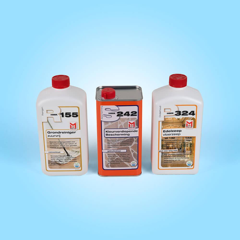 Met de producten op deze afbeelding kunt u uw natuursteen reinigen, kleurverdiepend impregneren en onderhouden. combi-pakket_r-155-grondreiniger_s-242-kleurverdiepende-bescherming_p-324-edelzeep_1000x1000