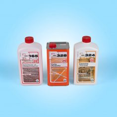 Met deze drie producten krijgt uw terracotta een zijdeglans effect voor het antieke effect. Het bevat de R165 als reiniger, de P328 Wasbeist als bescherming en glans, met de P324 Edelzeep onderhoudt u vervolgens de vloer.