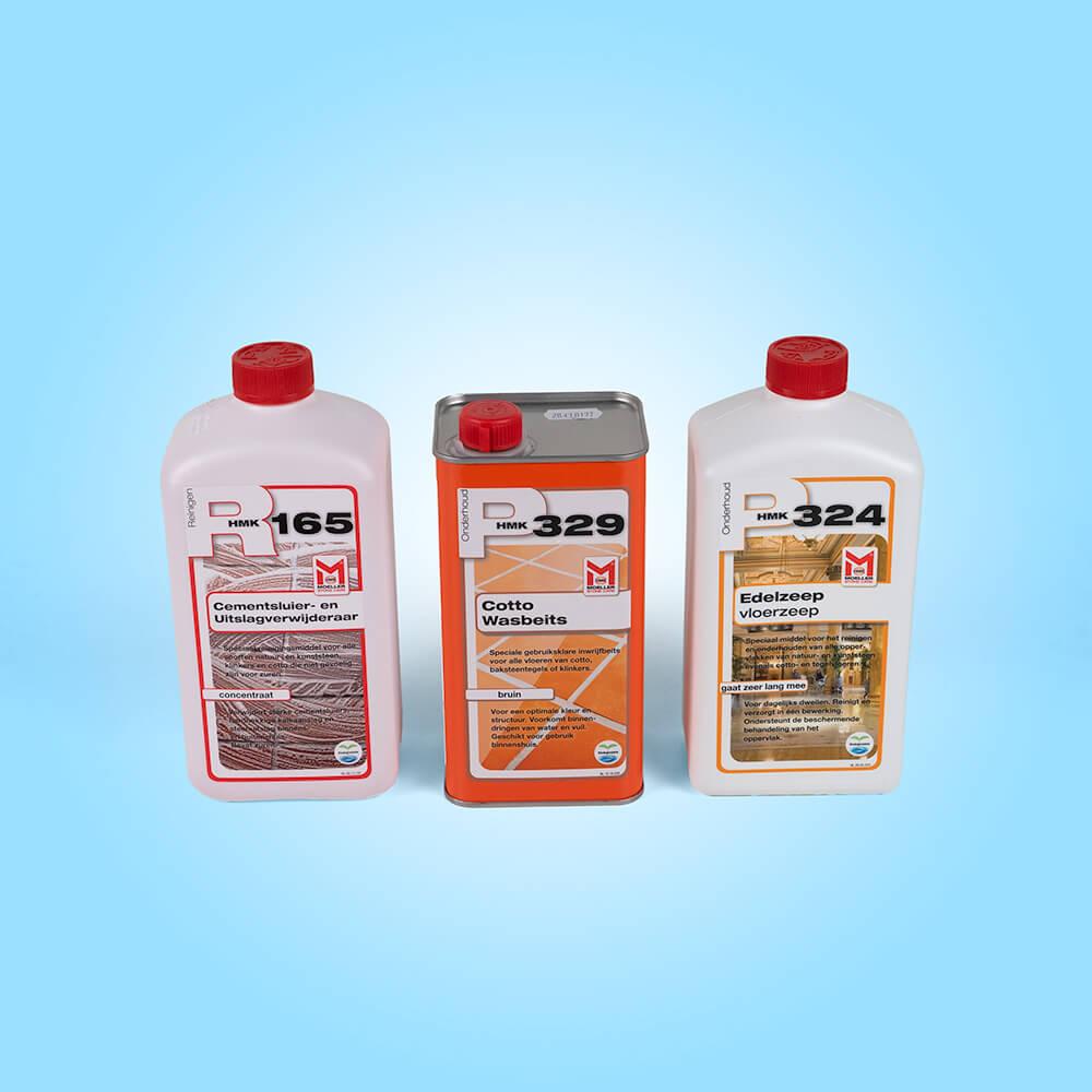 Met deze drie producten krijgt uw terracotta een zijdeglans effect voor het antieke effect. Het bevat de R165 als reiniger, de P32 Wasbeits bruin als bescherming, kleurverdieping en glans, met de P324 Edelzeep onderhoudt u vervolgens de vloer.